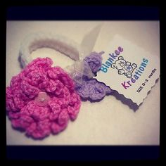 ANGEL WHITE HEADBAND WITH FLAMINGO (LARGE) AND LAVENDER (SMALL) FLOWERS