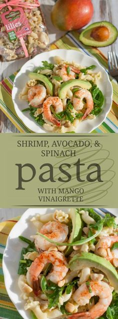 Sweet mangos and crunchy macadamia nuts makes this Shrimp, Avocado, & Spinach Pasta with Mango Vinaigrette a perfect poolside dinner or fabulous luncheon! Yummy Pasta Recipes, Healthy Recipes, Avocado Recipes, Fish Recipes, Seafood Recipes, Salad Recipes, Dinner Recipes, Healthy Food, Seafood Menu