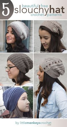 5 Free Slouch Hat Crochet Patterns | Free Crochet Slouchy Hat Patterns by Little Monkeys Crochet