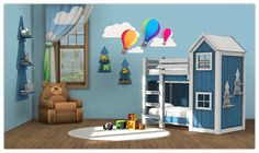 My Sims 4 Blog: Clubhouse Bunk Bed and Shelf for Toddlers by 13Pumpkin