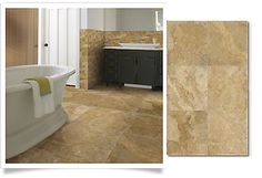 Give your home a timeless presence with Shaw's honed travertine flooring.