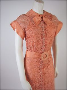 The Timeless Peach 1930's Deco Taffeta & Lace Wedding Bridal Party Full Length Dress  --  i've been told i'm not permitted to wear flesh-tones, but i love the style