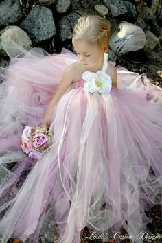 Wedding Bridal Flower Girl Rose Pink and by sweethearttutus