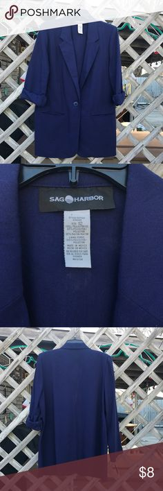 Professional Blue Androgynous Blazer This baby has sweet shoulder pads that you can cut right out!   Unless you're going for that look because honestly it's quite flattering.   I'll post measurements before I get it wrapped and ready to be shipped when sold. Sag Harbor Jackets & Coats Blazers