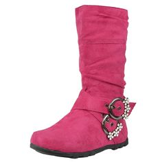 Kids Mid Calf Boots Rhinestone Buckle Accent Casual Comfort Shoes Fuchsia Girls Footwear, Girls Shoes, Bearpaw Boots, Ugg Boots, Mid Calf Boots, Comfortable Shoes, Uggs, Little Girls, Wedges