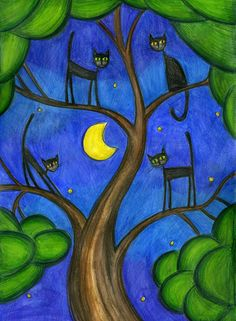 black cats in a tree