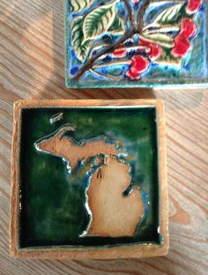 Hand made tiles by Michigan artist in Fishtown
