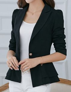 Stylish Lapel Long Sleeve Solid Color One-Button Women's Blazer Blazer | RoseGal.com Mobile