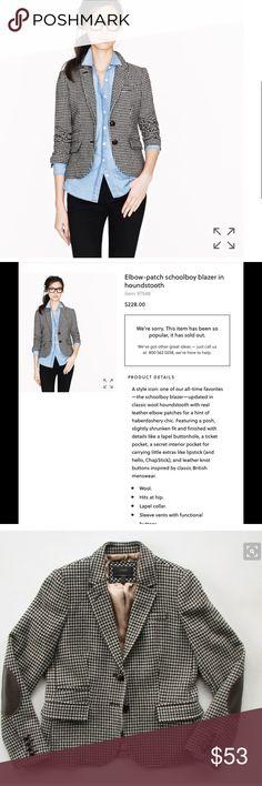 J.crew elbow-patch schoolboy blazer in houndstooth Excellent condition J. Crew Jackets & Coats Blazers