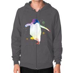 Psychedelic Penguin Zip Hoodie (on man)