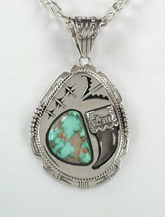Native American Navajo bear claw pendant sterling silver turquoise by Bennie Ration