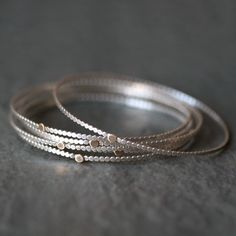 Gold Dot Circle Bangle in Sterling Silver
