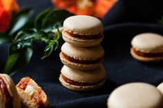 Macarons with sobrasada & goat cheese Vol Au Vent, Macaroons, Eclairs, Four, Snack, Finger Foods, Cake Pops, Catering, Waffles