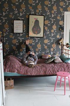 Moody pretty wallpaper in kids room