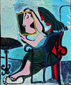Pablo Picasso, Femme au Miroir on ArtStack #pablo-picasso #art