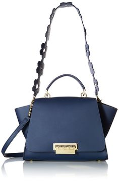ZAC Zac Posen Eartha Iconic Soft Top Handle Floral Strap Navy (This is an affiliate pin) Nylon Bag, Zac Posen, Leather Handle, Wallets For Women, Clutch Bag, Zip Around Wallet, Satchels, Floral, Top