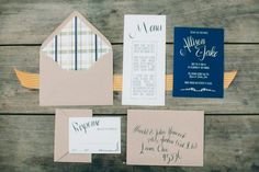 Plaid, kraft and navy invitations by RubyandWillow.co.nz // photo by TheCarrsPhotography.com