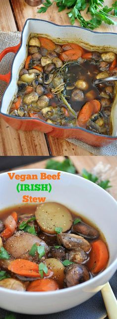 Vegan beef (Irish) Stew is so flavorful and so much healthier! Made with mushrooms, carrots, and potatoes. The perfect winter or St. Patrick's Day dinner.