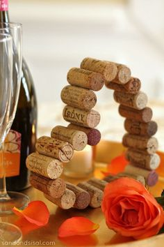 Cork Craft - Valentine Heart. A fun and easy Valentine's Day craft using corks. Sip away and then make this Valentine's Cork Heart. Such a memorable way to showcase favorite wines that you and your sweetheart shared.