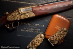 This remarkable shotgun was a gift to Reichsmarschall Hermann Göring (1893-1946) given to him at his famed hunting lodge Carinhall, in 1937. Göring was an ace fighter pilot in WWI. Having flown with von Richthofen's Flying Circus, he was a recipient of the Pour le Merite (Blue Max). He was an early supporter of Adolph Hitler's Nazi Party and eventually became head of the Luftwaffe and Hitler's designated successor.
