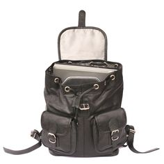 Leather Laptop Backpack, Laptop Rucksack, Backpack Straps, Small Notebook, Computer Bags, City Bag, Velcro Straps, Real Leather, Fashion Backpack