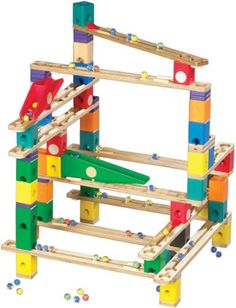 19 Pieces Hape Quadrilla Wooden Marble Run Construction Basic Builders Wooden Add-On Set