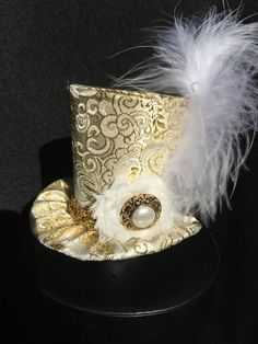Gold Brocade Mad Hatter Mini Top Hat for Dress by daisyleedesign