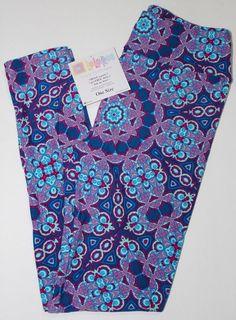 NWT LuLaRoe Leggings~OS~Teal•Cream•Ivory•Navy Blue Floral Paisley Vintage Roses
