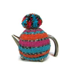 Tea cosy knitted striped retro pom pom tea cozy by jarg0n on Etsy, £25.00