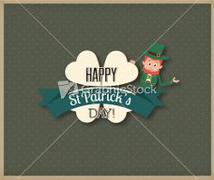 St. Patrick's Day Vector Illustration With Clover, Ribbon And Leprechaun Stock Image