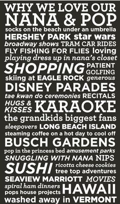 an 45th wedding anniversary gift. this list was compiled by their 6 grandchildren! what a joy it was making it!