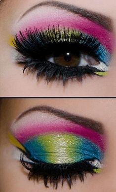 Neon Colorful Eye Makeup | From Neon eyeshadow looks, neon eyeshadow in bright colors, from green, yellow, orange, hot pink, and blue. Beautiful eye makeup eyes, from neon eyeshadow makeup inspiration  colorful eye makeup, bright eye makeup, dramatic colorful eye makeup, and neon eyeshadow makeup tutorial, perfect for summer. Here you'll find the best bold ideas for bright neon eye makeup ideas, colorful eyeshadow, neon makeup glitter, and summer festival makeup #neoneyeshadow #neoneyemakeup…