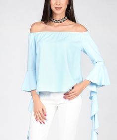 This Light Blue Off-Shoulder Asymmetrical Flounce Top is perfect! #zulilyfinds