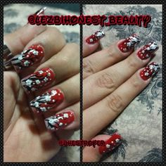 Finally got around to doing a#designits been to long since I did something#red#white#black#silver#cherry#blossoms#flowers#art#nailart#artist#manicurist#long#nails#sexy#artsy#ilovewhatido#mylife#myworld#polish#fingerpaints#blackheart#orly#branches