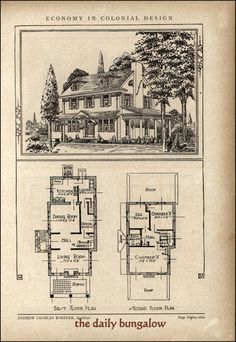 Economy in colonial design. Andrew Charles Borzner::1928 Beautiful Homes   by Daily Bungalow