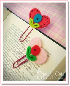 Kids sewing project: Heart Bookmarks