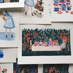 """""""A peek at some of the original paintings (gouache on paper) for Alice's Adventures in Wonderland. The book comes out Tuesday! ♣️ #AlicexAnnaBond"""" Photo taken by @annariflebond on Instagram, pinned via the InstaPin iOS App! http://www.instapinapp.com (10/26/2015)"""