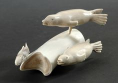 Seals Hunting a Fish by Yvonne Kayotak, Inuit artist (N70307)