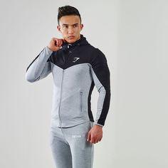 Gymshark Fit Hooded Top 2.0 - Black/Grey Marl