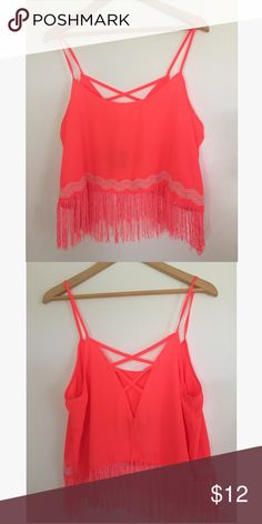 Charlotte Russe crop top Lightly worn. Bright Charlotte Russ fringe crop top Charlotte Russe Tops Crop Tops