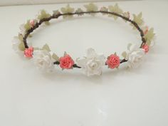 White and Coral Flower Crown Floral Crown by heartsandmermaids