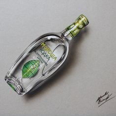 This drawing of a bottle of  Morosha took nearly 4 hours. by Marcello Barenghi