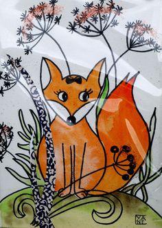 carte d'art, dessin original le petit renard : Affiches, illustrations, posters…