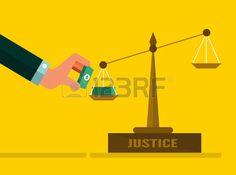 Escalas de la justicia con el dinero Concepto Corrupci n dise o plano ilustraci n vectorial Foto de archivo