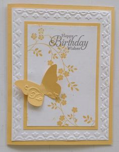Tulip embossing folder, Stampin Up Thoughts & Prayers and Simply Sketched, Embosslits Beautiful Wings Birthday Cards For Women, Handmade Birthday Cards, Happy Birthday Cards, Greeting Cards Handmade, Butterfly Birthday Cards, Butterfly Cards, Hand Stamped Cards, Embossed Cards, Stamping Up Cards