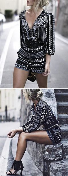 Sometimes you need a little structure in your wardrobe! Chic Geometric Print Lace-up Front Romper! Don't let it slip away before your eyes. Shop all new arrivals at OASAP. one of my favorite outfits Looks Street Style, Looks Style, Mode Outfits, Casual Outfits, Party Outfits, Classy Outfits, Look Fashion, Womens Fashion, Fashion Trends