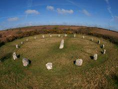 Boscawen stone circle - Boscawen Un (or The Merry Maidens). Near St. Buryan, Cornwall, England. Circa 3000 B.C.