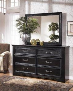 Ashley Furniture Signature Design - Cavallino Dresser - 6 Drawers - Modern Classic Look - Black (ad)