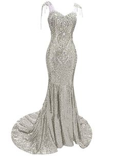 Fluorodine Womens Crystal Sweetheart Lace Up Sequin Mermaid Evening Prom Dress US16 Silver ** To view further for this item, visit the image link.