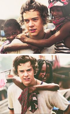 Harry Styles in Ghana- these pictures always make me smile. Beautiful Person, Beautiful People, Beautiful Boys, I Smile, Make Me Smile, One Direction, Harry Styles 2013, Holmes Chapel, Mr Style